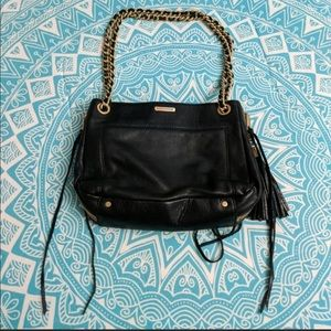 Rebecca Minkoff black leather bag chain